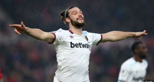 Andy Carroll celebrates scoring for West Ham United in 2017