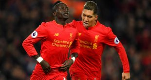 Sadio Mane celebrates for Liverpool after scoring against Tottenham Hotspur in the Premier League