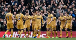 Tottenham celebrate with Harry Kane after a 3-0 victory at Fulham in the FA Cup