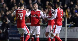 Lucas Perez of Arsenal celebrates scoring against Sutton United