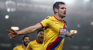 Scott Dann celebrates scoring for Crystal Palace in the Premier League