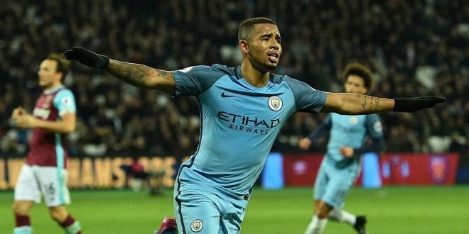 Gabriel Jesus celebrates scoring for Manchester City against West Ham in the Premiee League 2017