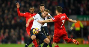 Harry Kane battles against Liverpool as Tottenham slump to a defeat