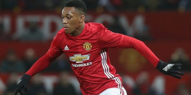 Anthony Martial in action for Manchester United
