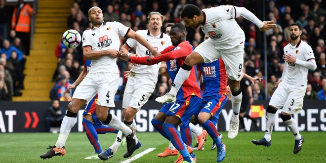 Troy Deeney scores an own goal for Watford against Crystal Palace