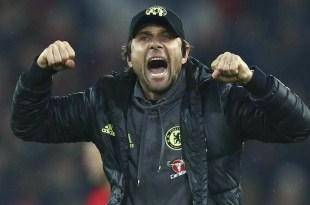 Antonio Conte celebrates a Chelsea goal against Jose Mourinho's Manchester United