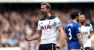 Harry Kane celebrates after scoring two goals against Everton
