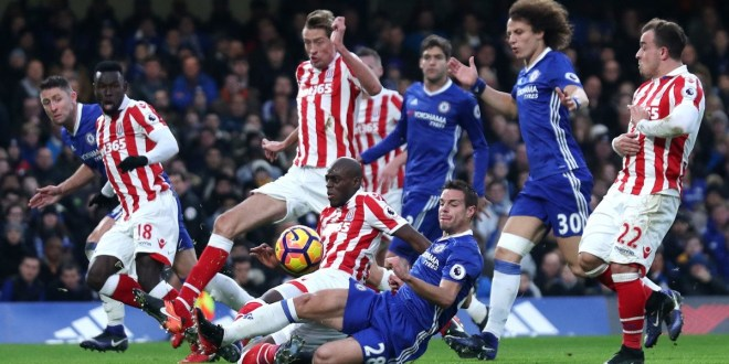 3 at the back. Azpilicueta, Cahill and David Luiz in action for Chelsea against Stoke in the Premier League