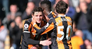 Andrew Robertson celebrates scoring for Hull City in a crunch game at the bottom of Premier League against West Ham