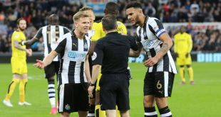 Matt Ritchie protests after Keith Stroud disallowed his penalty for Newcastle