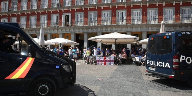 Leicester City fans encountered trouble with the Police in Madrid ahead of their Champions League tie against Atletico