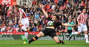Marko Arnautovic scores as Stoke beat Hull 3-1 at the bet365 stadium