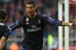 Cristiano Ronaldo celebrates scoring for Real Madrid against Bayern Munich in the Champions League