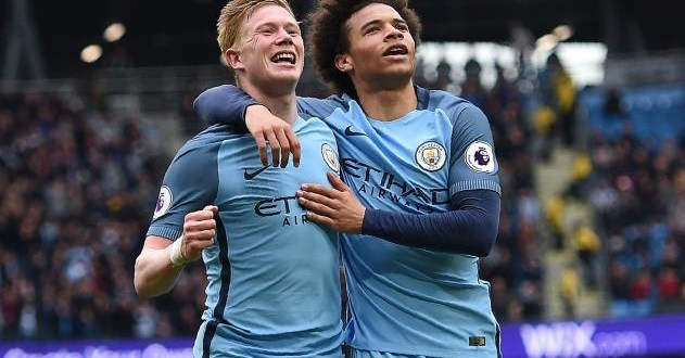Kevin de Bruyne and Leroy Sane celebrate