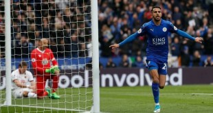 Riyad Mahrez celebrates scoring against Watford