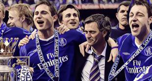 Frank Lampard, John Terry and Jose Mourinho celebrate winning the Premier League title
