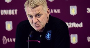 Aston Villa manager Dean Smith speaks to the media in his press conference