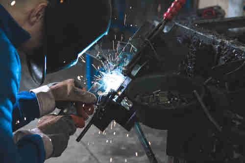 Work boots for welders steel toe, slip on, metatarsal guard