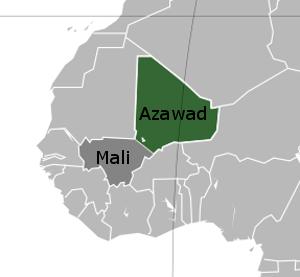 Map of Azawad according to Tuareg Rebels, Mali and Azawad, Western Sahel