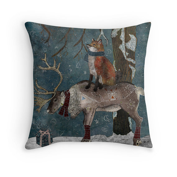 Winter Tale Pillow by Francesca Rizzato Art