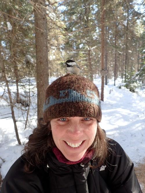 Chickadees on Deneen's head