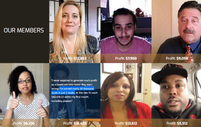 Fake Testimonials From HawkCode Users