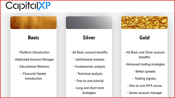 CapitalXP Broker Account Types