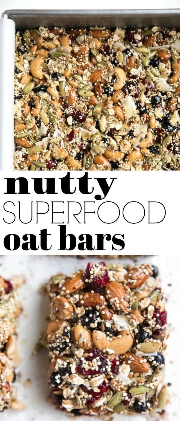 Nutty Superfood Oat Bars via @theforkedspoon #glutenfree #dairyfree #snack #nuts #driedfruit #oatbars #granolabars #snackfood #recipe #easyrecipe | For this recipe and more visit, https://theforkedspoon.com/