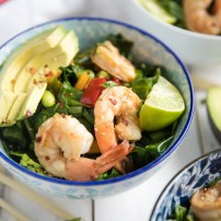 Sesame Ginger Shrimp Bowls with Chopped Asian Greens