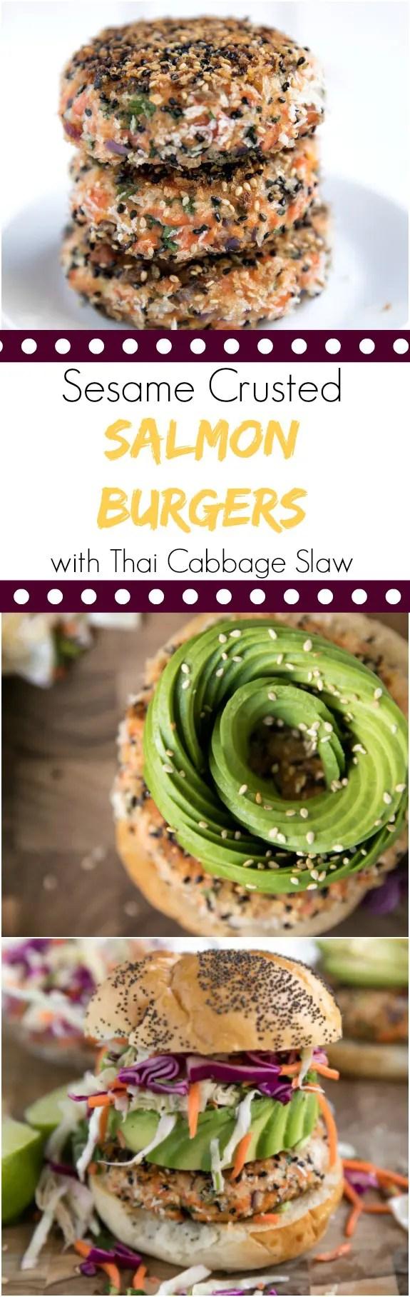 Sesame Crusted Salmon Burgers with Thai Cabbage Slaw. #burger #salmon #thai #healthyrecipes