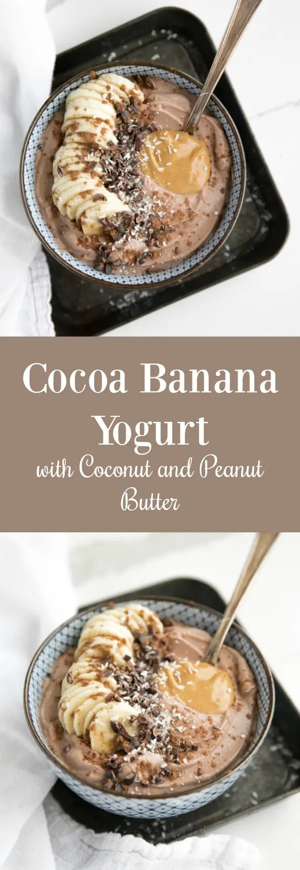 Rich, creamy and chocolatey, this Cocoa Banana Yogurt is delicious for breakfast or dessert! Sweetened with honey and banana, this bowl of creamy yogurt has no processed sugars. #breakfast #dessert #healthy #healthyrecipies #snack #banana #yogurt