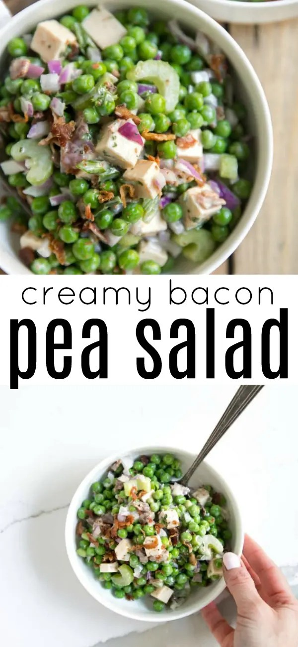 Easy Pea Salad with Bacon (+VIDEO) via @theforkedspoon #peasalad #easyrecipe #fastrecipe #potluck #summerrecipe #goudacheese #bacon | For this recipe and more visit, https://theforkedspoon.com/creamy-pea-salad-with-bacon-video