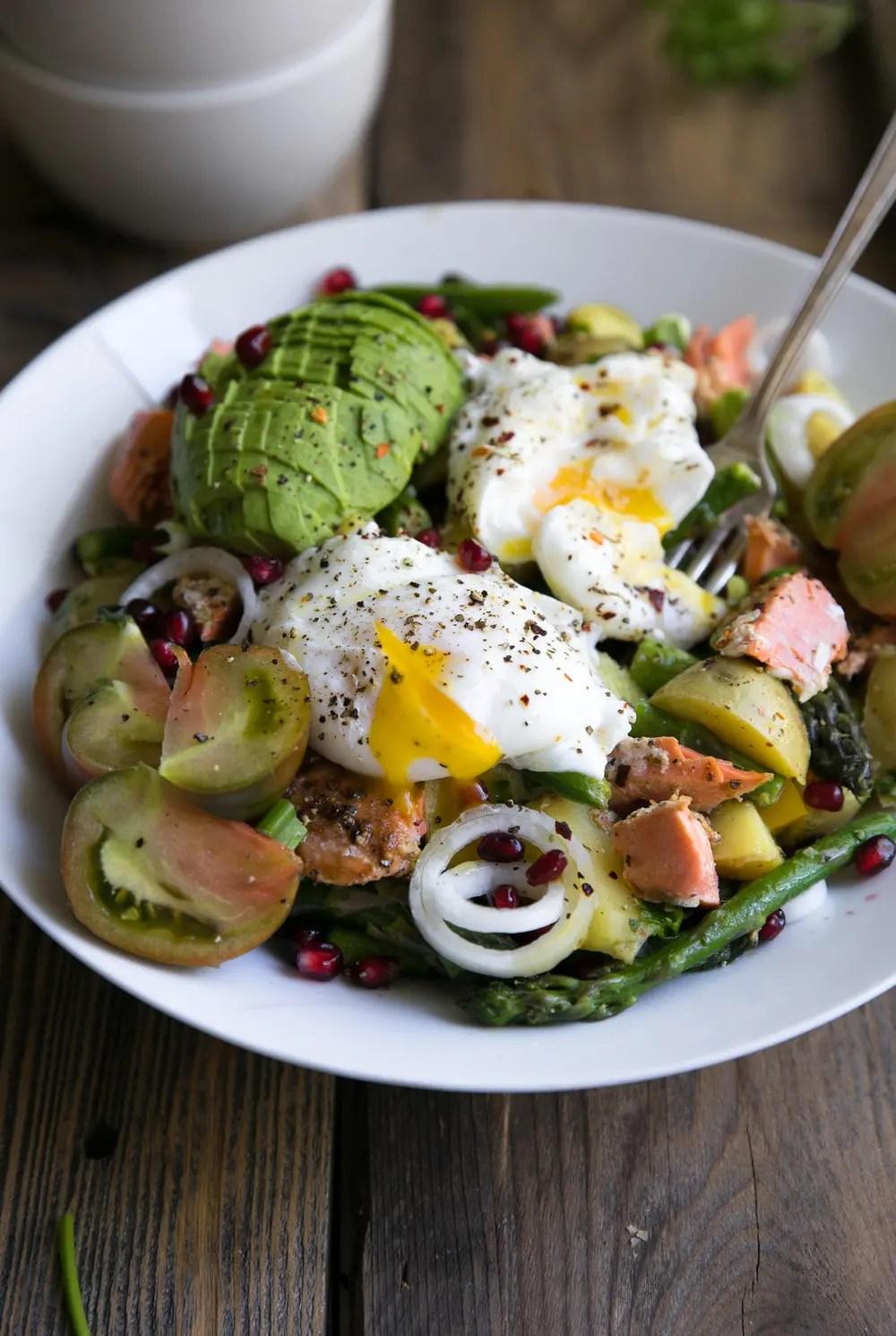 Easy Asparagus and Avocado Potato Salad with Poached Egg and Salmon