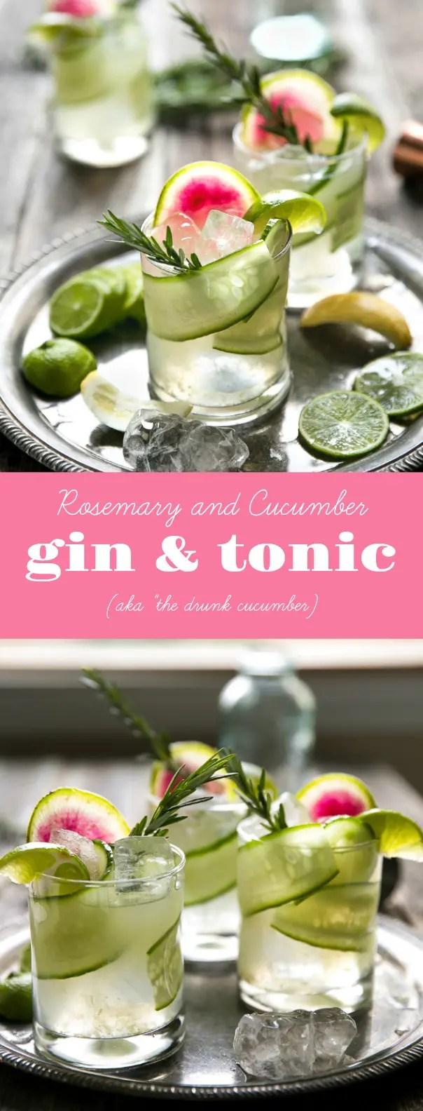 Easy Cucumber, Rosemary, and Watermelon Radish Gin & Tonic (aka \