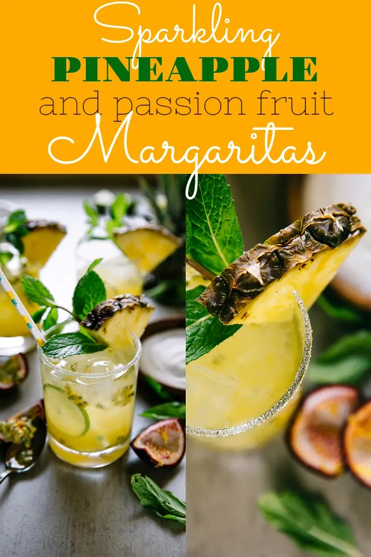 SPARKLING PASSION FRUIT AND PINEAPPLE MARGARITAS. Fresh, fruity, and bubbly, these Sparkling Passion Fruit and Pineapple Margaritas Combine my love for sparkly champagne, all the tequila, and sweet passion fruit to make the very best margarita recipe ever! #cocktail #margarita #tequila #champagne #cincodemayo #drinkrecipe #easyrecipe #margaritarecipe #passionfruit #pineapplemargarita   For this recipe and more visit, https://theforkedspoon.com/