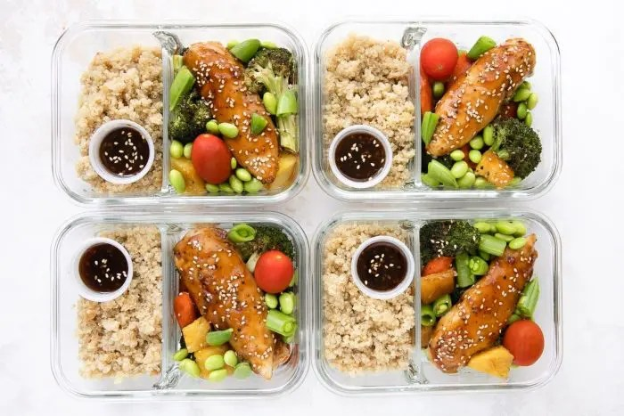 meal prep ideas- chicken teriyaki with quinoa and roasted vegetables