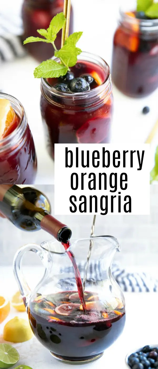 Easy Blueberry Sangria. A delicious and refreshing red wine sangria, this Blueberry Sangria is made with fruity red J. Lohr Estates Seven Oaks Cabernet Sauvignon, fresh summer blueberries, brandy, orange juice, and garnished with mint. @jlohrwines #JLohr #JLohrWines #Sangria #SevenOaksSummer #JLohrPartner #cocktail #sangriarecipe #blueberries | For this recipe and more visit https://theforkedspoon.com
