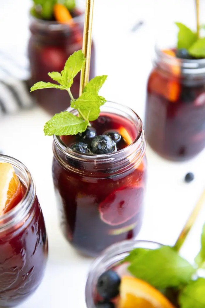 Mason Jars filled with Blueberry Sangria