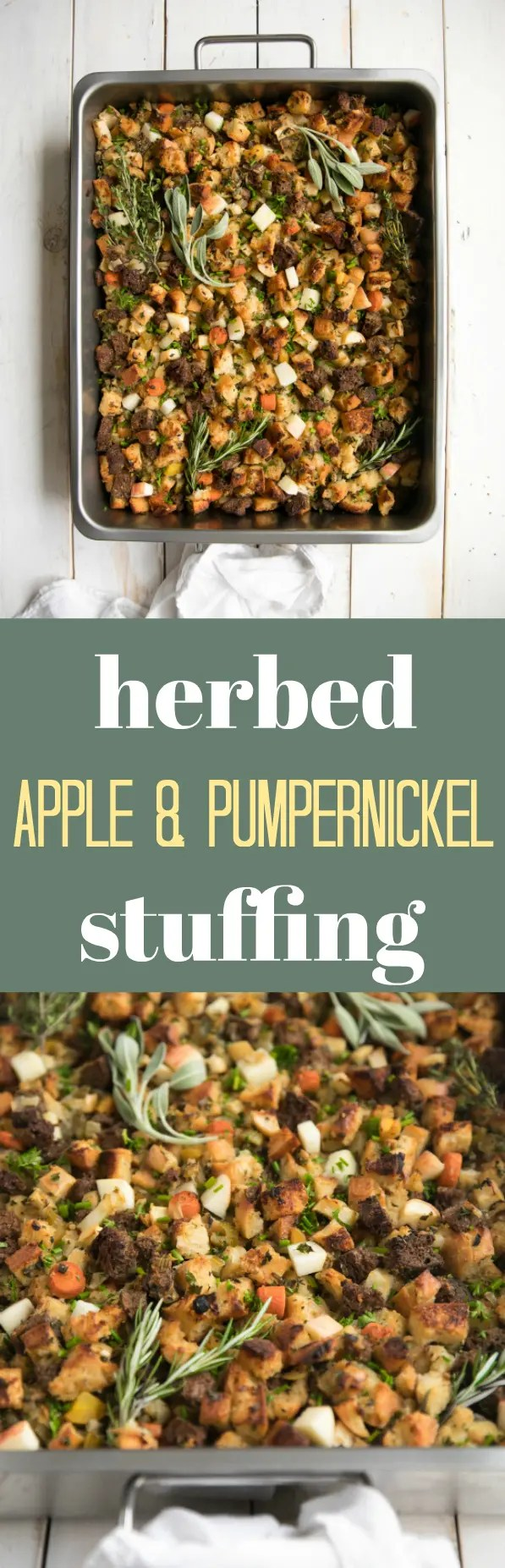 Pumpernickel and Sourdough bread come together in this hearty, healthy and completely vegetarian version of the must-have Thanksgiving side dish- stuffing! #thanksgiving #healthy #holiday #veg #vegetarian #healthyrecipes @theforkedspoon