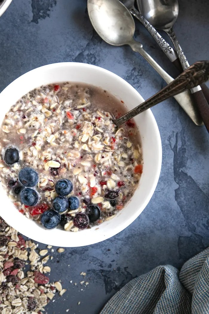 Instant Oatmeal mixed with water and topped with fresh blueberries.