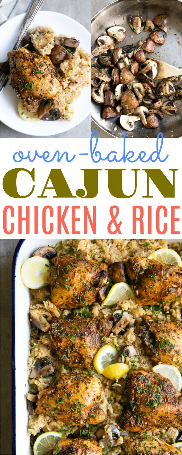 Cajun Chicken and Rice Bake with Mushrooms #chickenandrice #cajun #easydinner #sauteedmushrooms #chickendinner #dinnerideas #howtomakechickenandrice #chickencasserole | For this recipe and more visit, https://theforkedspoon.com/cajun-chicken-and-rice-bake