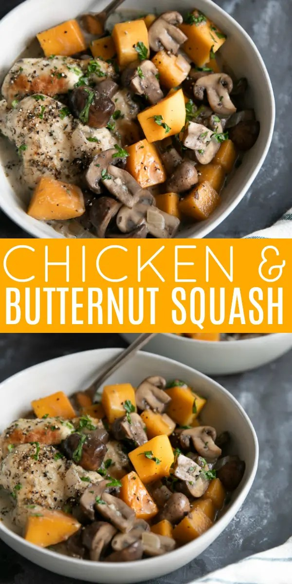 Easy Chicken and Butternut Squash Recipe with Mushrooms #butternutsquash #chickenrecipe #chickendinner #healthydinner #mushrooms #chickenwithmushrooms #squash | For this recipe and more visit, https://theforkedspoon.com/chicken-with-mushrooms-and-butternut-squash