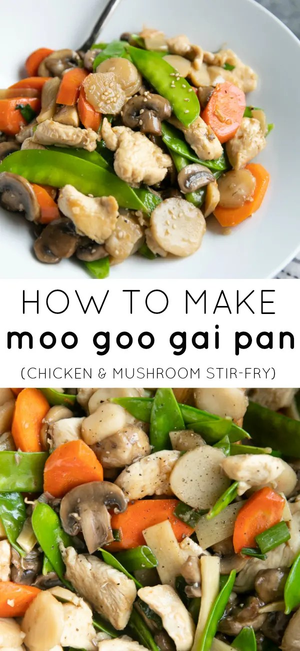 Moo Goo Gai Pan (Chicken and Mushroom Stir Fry) #chickenstirfry #betterthantakeout #stirfryrecipe #americanchinese #stirfry #chickenandmushrooms #chickenbreast #healthystirfry | For this recipe and more visit, https://theforkedspoon.com/moo-goo-gai-pan/