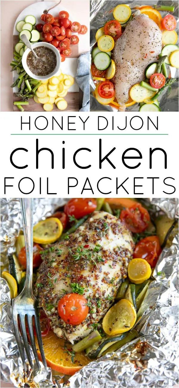Honey Dijon Chicken Foil Packets (Oven + Grill) #chickendinner #foilpack #chickenfoilpacket #easychickendinner #honeymustard #lowcarb #grillingrecipe #campingrecipe | For this recipe and more visit, https://theforkedspoon.com/chicken-foil-packets/