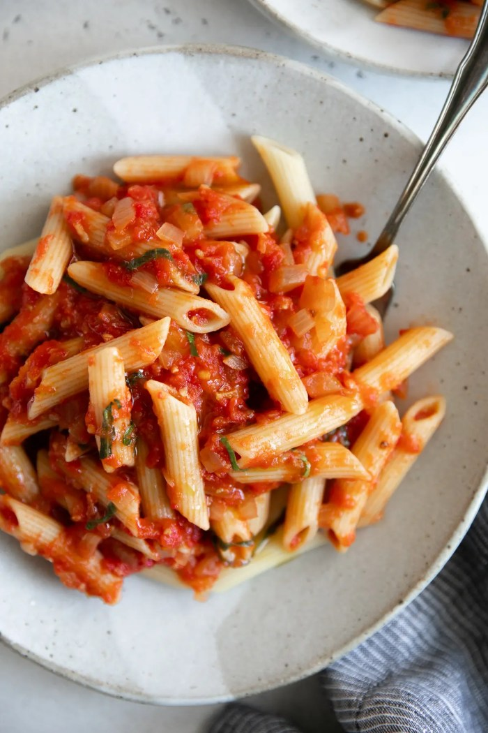 Small dinner plate filled with penne noodles tossed in homemade arrabbiata sauce.