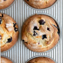 Homemade bakery style blueberry muffins.