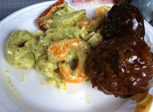 Hard as a Rock Asian Meatball with Soggy Pesto Tortellini