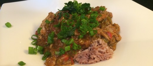 Easy Chicken Gumbo over Madagascar Pink Rice