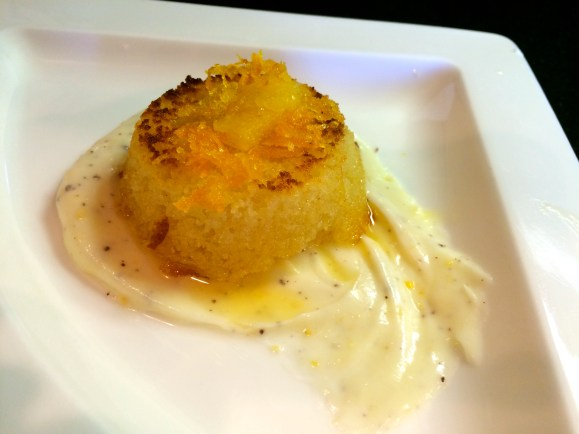 Mixed Citrus and Saffron Basboosa with Lemon Summac Mascarpone