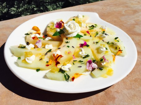 Melon Salad with Preserved Lemon, Lavender and Whipped Cream Cheese